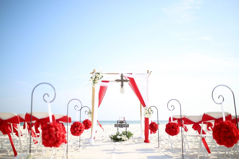 Red & White beach colors
