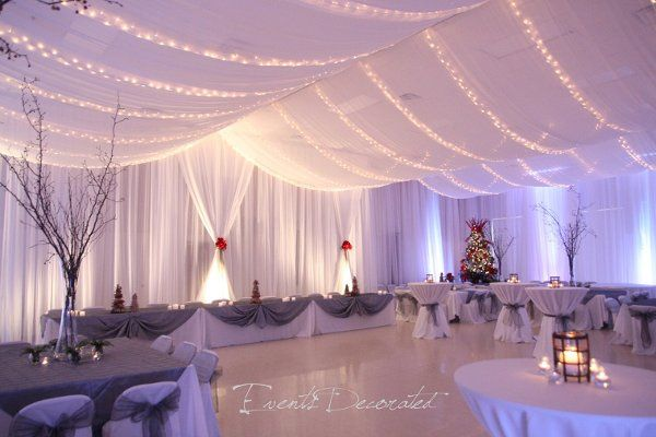 Events Decorated - Winter Wedding Reception.  Room draping, ceiling draping, twinkle lighting, up...