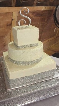 White cake with silver bands