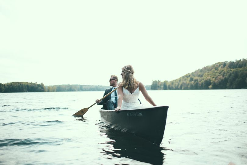 Newlyweds on a boat