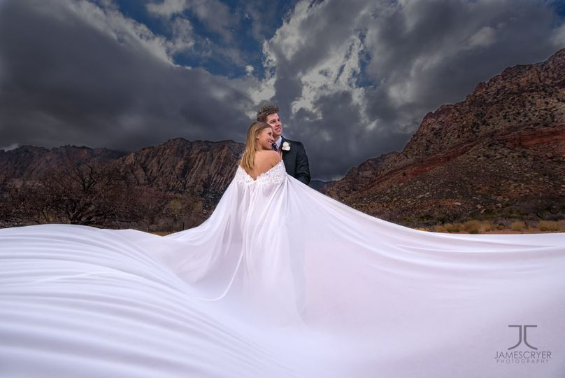 A beautiful dress and a bit of creativity combine to make an epic wedding portrait.