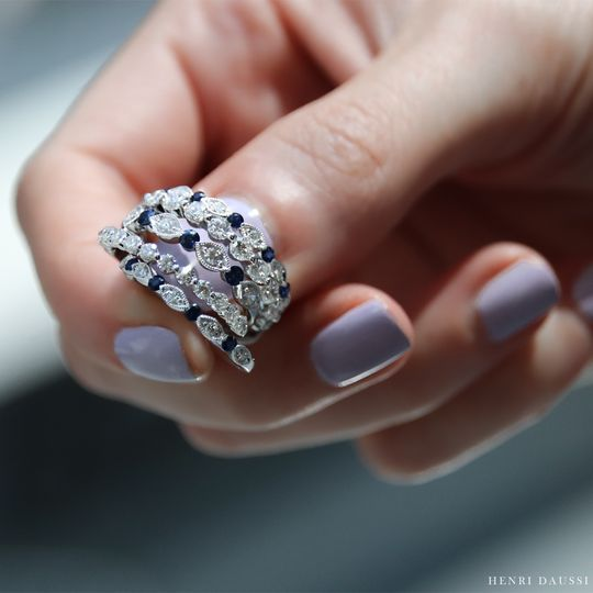 Sapphire and diamond bands