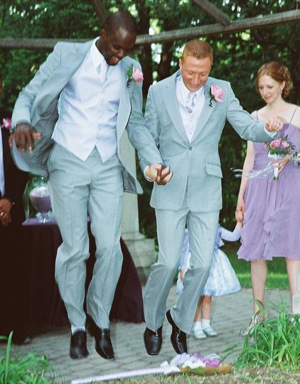 Fred and Tim jumped the broom - an old African American custom.