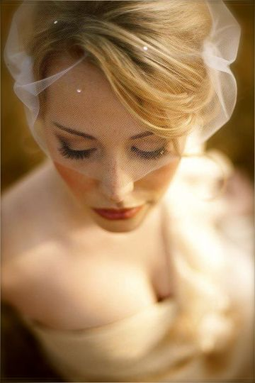 Closeup of the bride and her look
