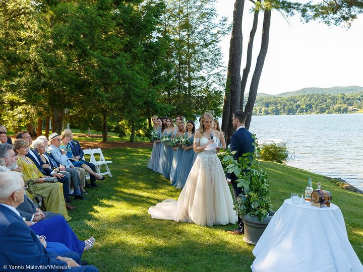 A summer wedding by lake