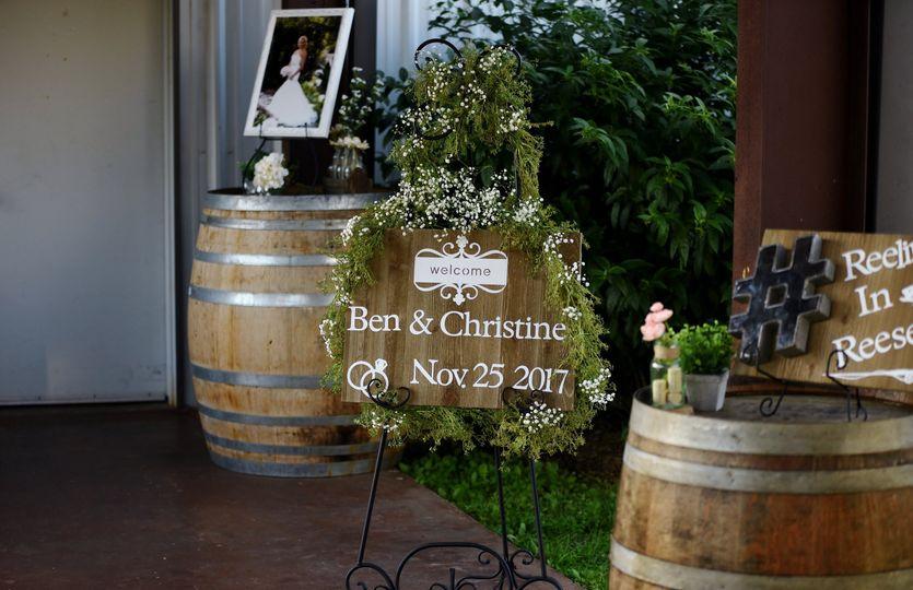 Wine barrels line the entrance