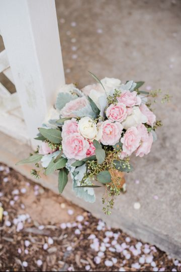 Pinks and dusty miller