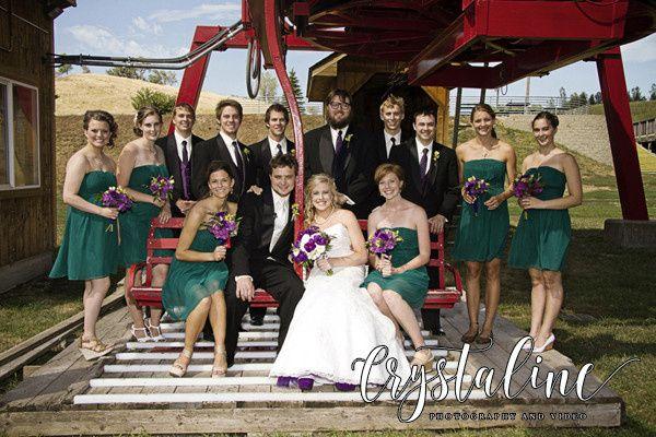 Bridal Party on a Ski Lift