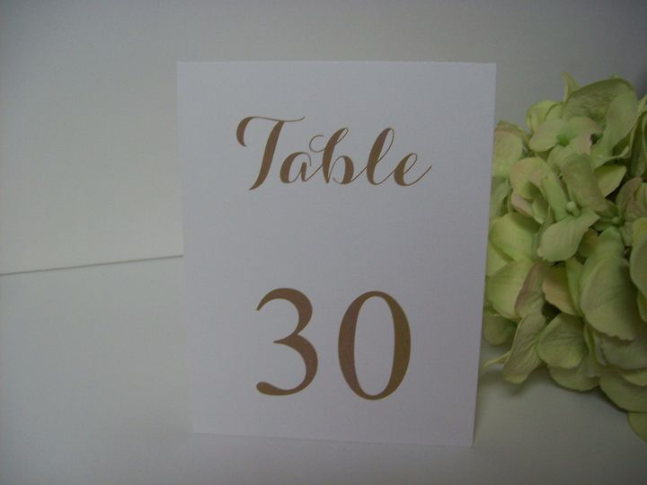 Stand up table number card