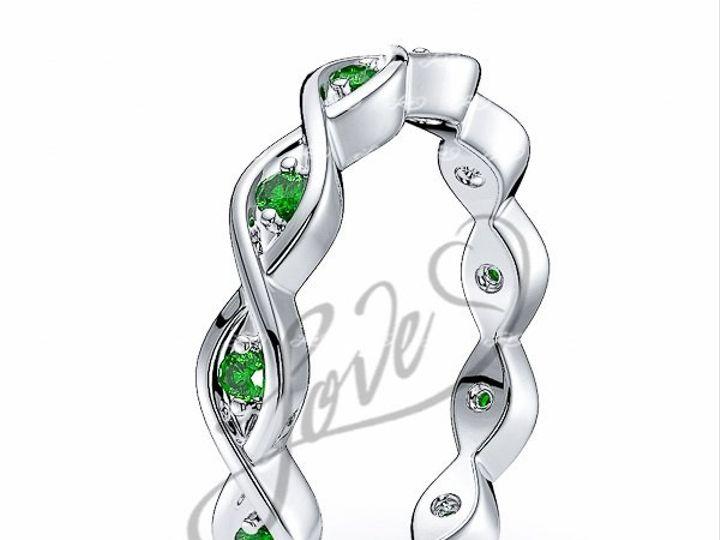 Tmx 1435700777493 613452100whitegoldemeraldeternityweddingbands New York wedding jewelry