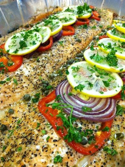 Deliciously oven baked Salmon among many options for your catering needs