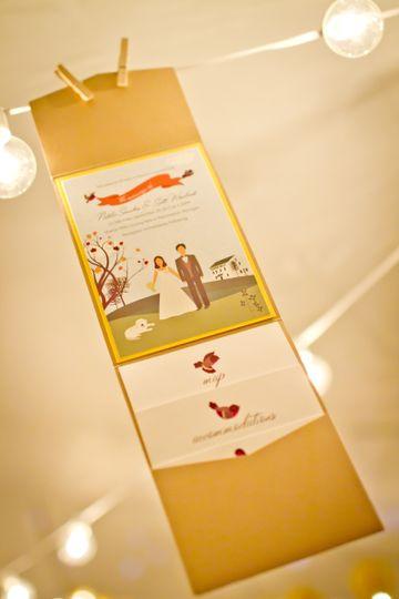 White and gold invitation