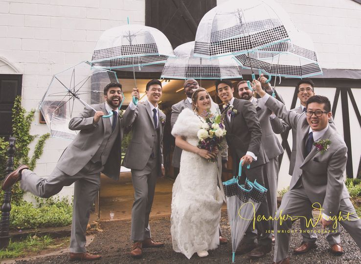 Bridal party in the rain
