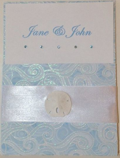 The Waves Pocket invitation with Genuine Swarovski Crystals & Real Sand dollar  Also...