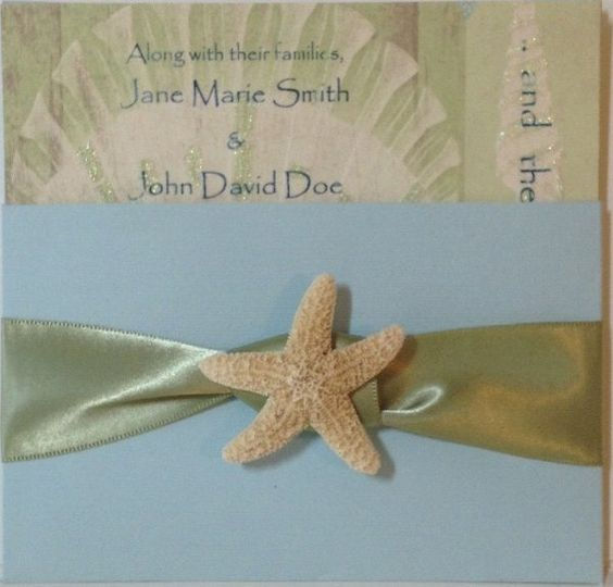 The Beach Shell with sage ribbon knot and real starfish  Also available/matching: Engagement...