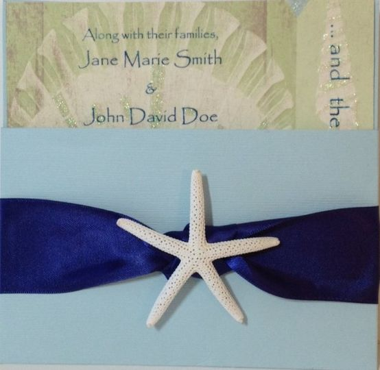 The Beach Shell with navy ribbon knot and white finger starfish  Also available/matching: Engagement...