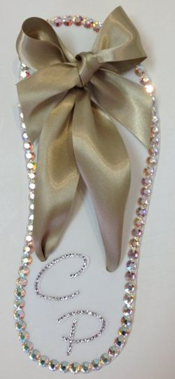 The Sandal with champagne ribbon and genuine Swarovski Crystals  Also available/matching: Engagement...