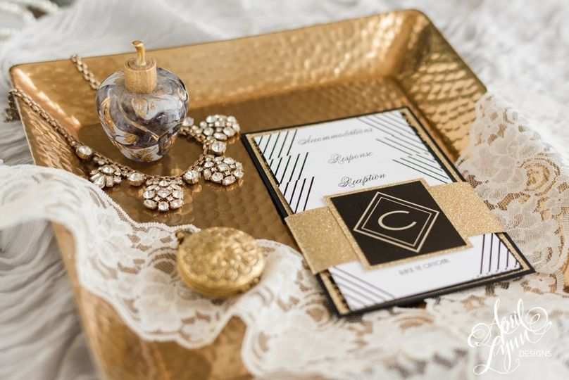 Gold and black themed wedding invitation
