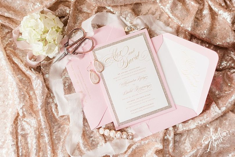 Pink and white invitation
