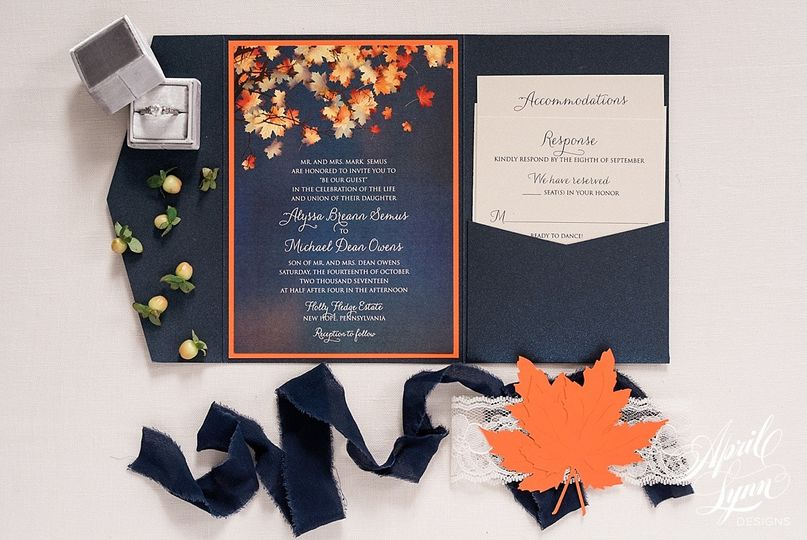 Fall leaves inspired invitation