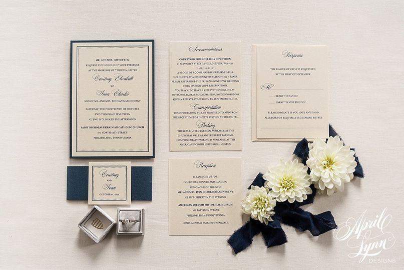 Navy blue invitation