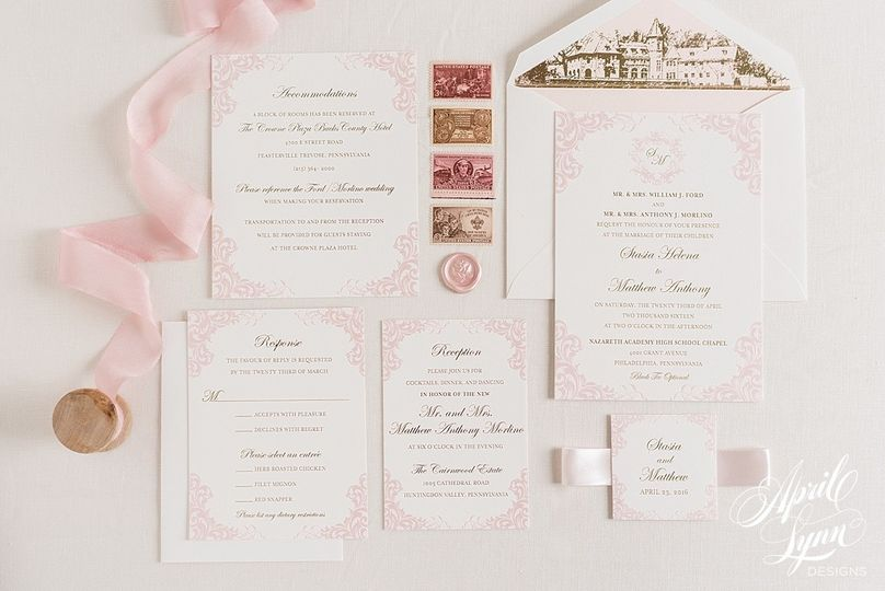 White and pink invitation