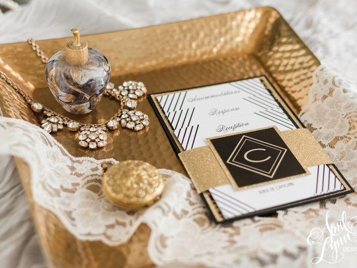 Tmx 1501250333161 Aprillynndesignsangelaiangatsbyartdecophiladelphia Langhorne, Pennsylvania wedding invitation