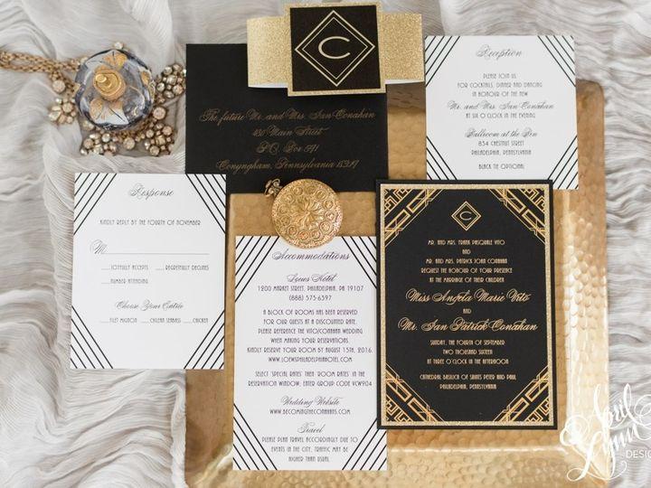 Tmx 1501250333176 Aprillynndesignsangelaiangatsbyartdecophiladelphia Langhorne, Pennsylvania wedding invitation