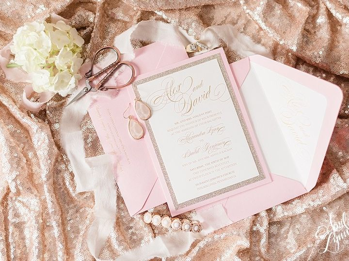 Tmx 1505329457094 Aprillynndesignsalexdavidgoldfoilpinkluxurywedding Langhorne, Pennsylvania wedding invitation