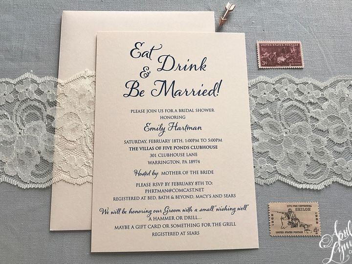 Tmx 1511189263633 Aprillynndesignsbridalshowerinvitationblushnavy11  Langhorne, Pennsylvania wedding invitation