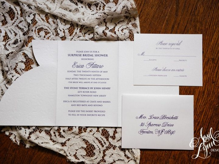 Tmx 1511189290075 Aprillynndesignsericasurprisebridalshowerinvitatio Langhorne, Pennsylvania wedding invitation