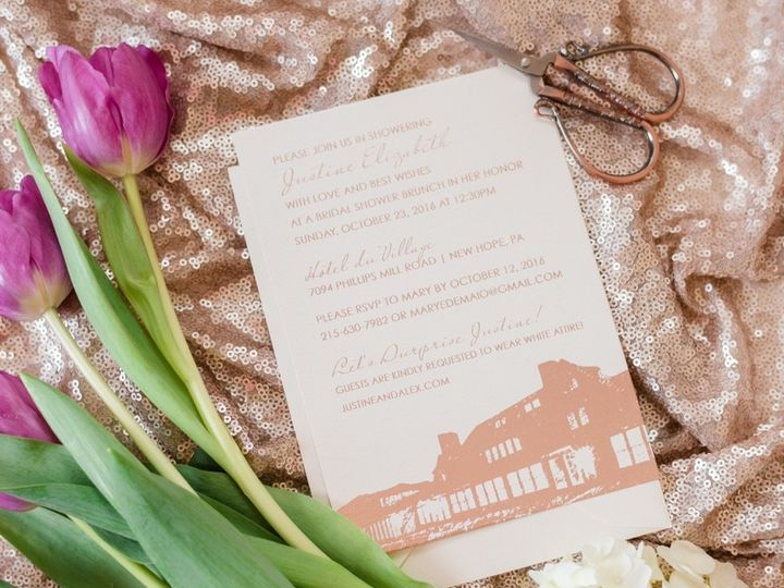 Tmx 1511189304311 Aprillynndesignsjustinebridalshowerinvitationroseg Langhorne, Pennsylvania wedding invitation