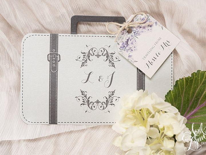 Tmx 1511189312698 Aprillynndesignslaurajasnapolanarustictravelsuitca Langhorne, Pennsylvania wedding invitation