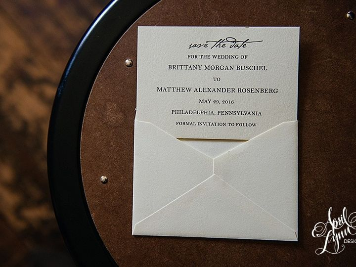Tmx 1511191089655 Aprillynndesignsbrittanymatthewsavethedateneutralc Langhorne, Pennsylvania wedding invitation