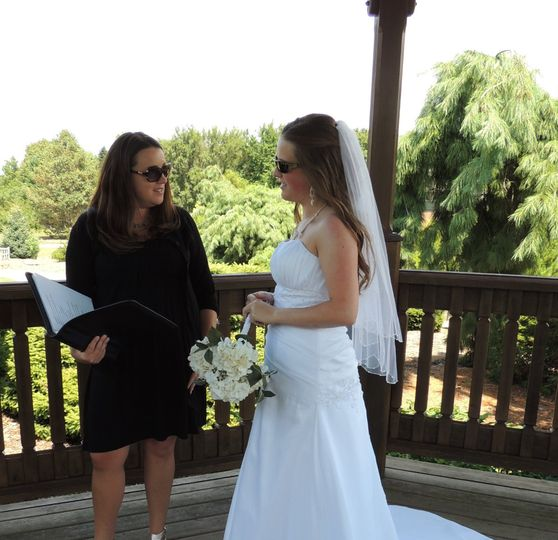 The officiant and the bride