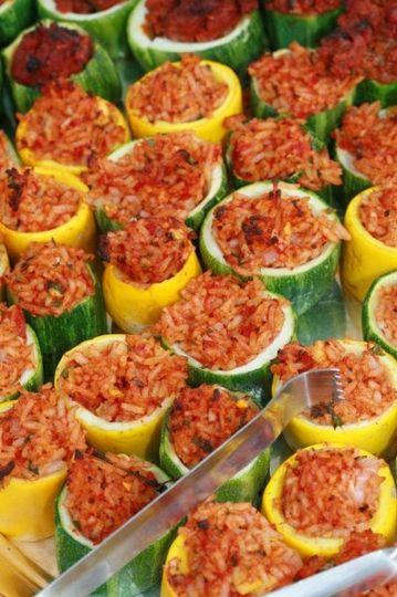 Rice stuffed zucchini rounds.