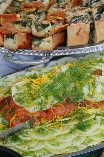 Smoked salmon platter with locally grown lemon cucumber and dill.