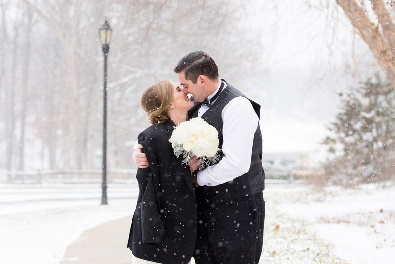 Couple winter kiss