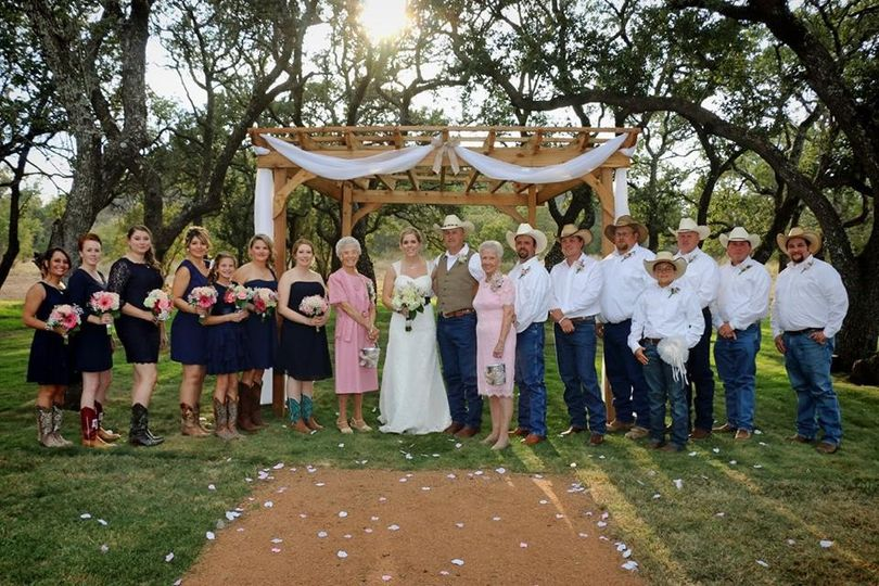 Wedding party at The Moss Ranch at Enchanted Rock
