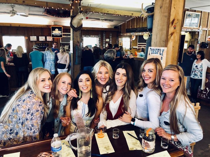 Beautiful Bachelorettes enjoying their tasting at Firefly Distillery on our Brut Package Tour