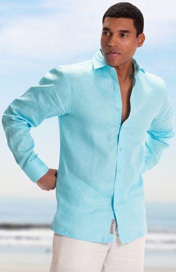 Aqua blue shirt for a casual look