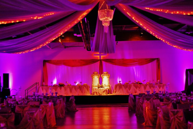 Wedding party stage and decor