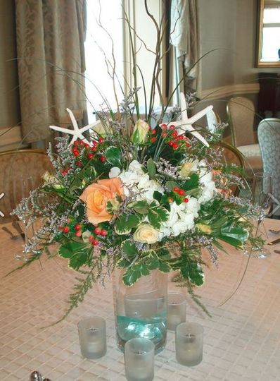 Atlanric Beach Club, Newport, RI. Guest table centerpiece