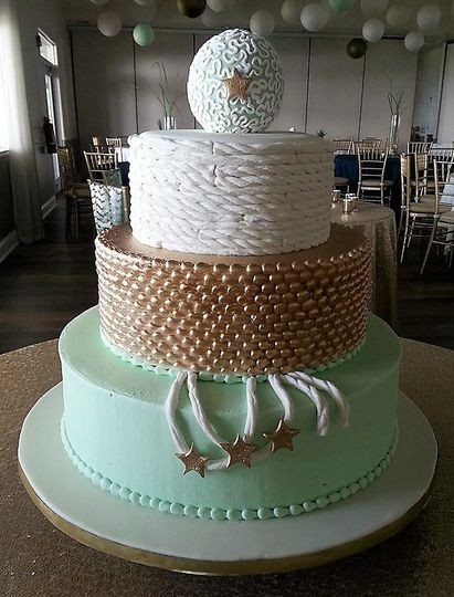Nautical themed wedding cake in white, gold and mint green