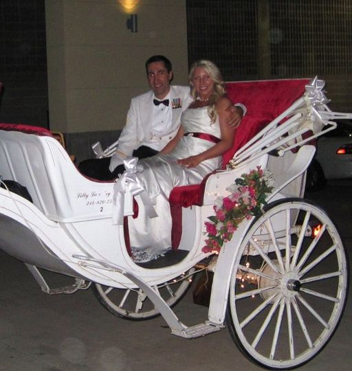 Beautiful wedding couple on the Princess carriage - downtown Dallas