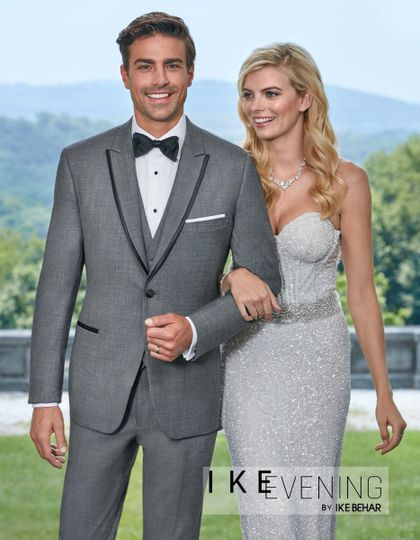 One Button Sharkskin grey with black edge tuxedo by Ike Behar and it SLIM FIT