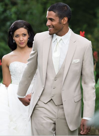 Allure Men , Tan two button notch self piping edged lapels make it a perfect day wedding tuxedo