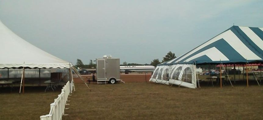 Willow Run Airport.  Our trailers at the VIP section on the runway.