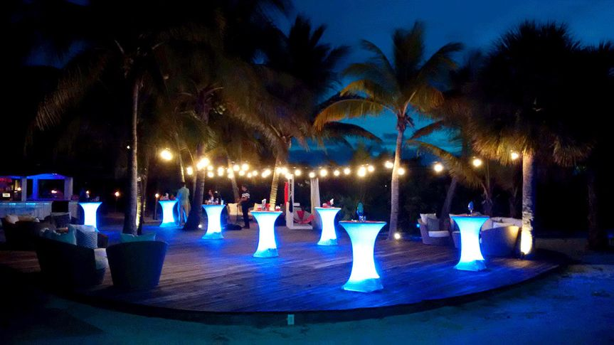 Our simple, elegant uplighting at the beautiful Blue Haven Resort for the TACC conference cocktails...