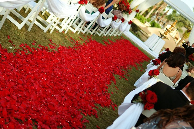 Aisle decorated with red roses petals